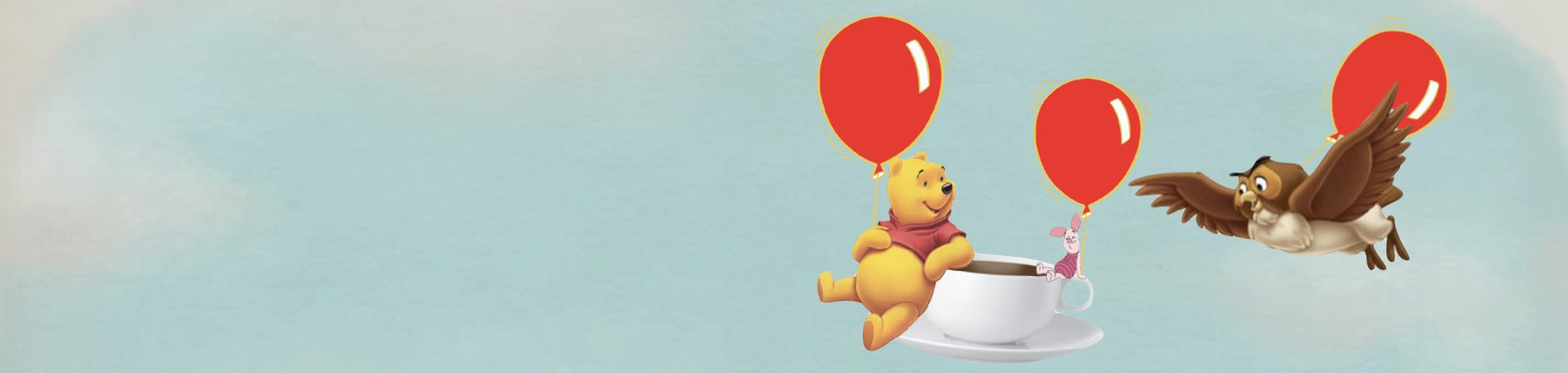 Pooh, Owl and Piglet with Balloons